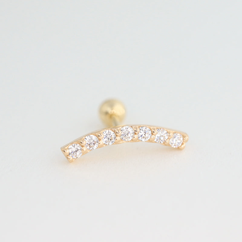 Slim CZ Curve Bar Cartilage Earring- 14K Gold