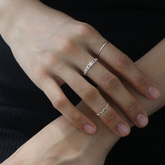 CZ Chain Ring- Sterling Silver