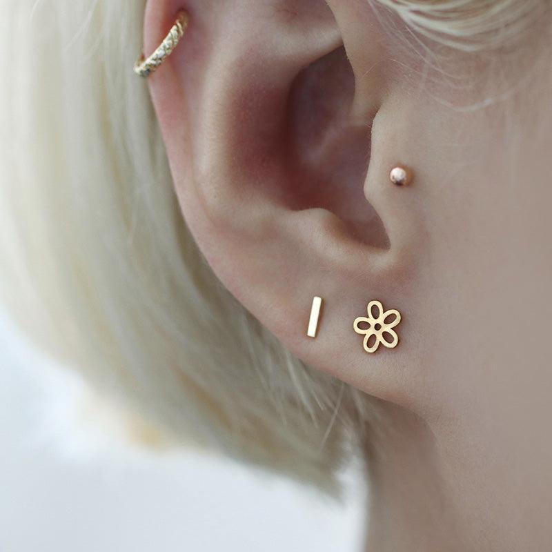 Small Bar Stud Ear Piercing- 14K Gold