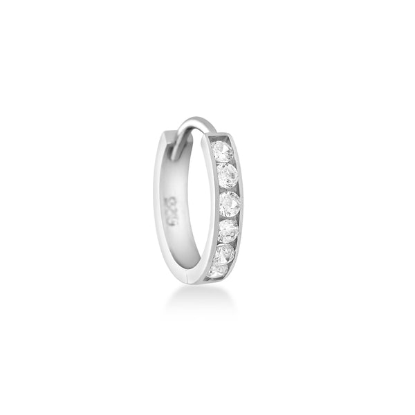 small CZ hoop earring in sterling silver