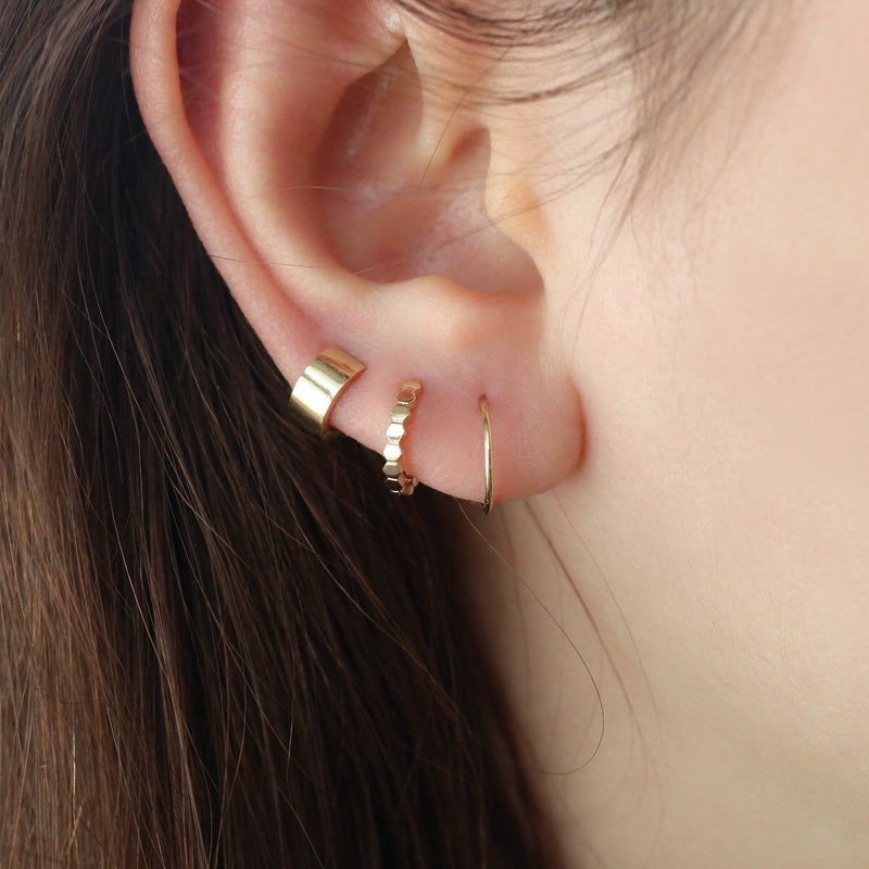 Tiny Wide Huggie Hoop- 14K Gold