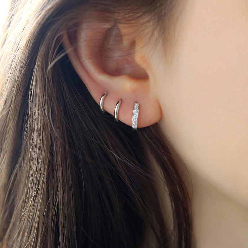 slim huggie hoop earrings made from sterling silver