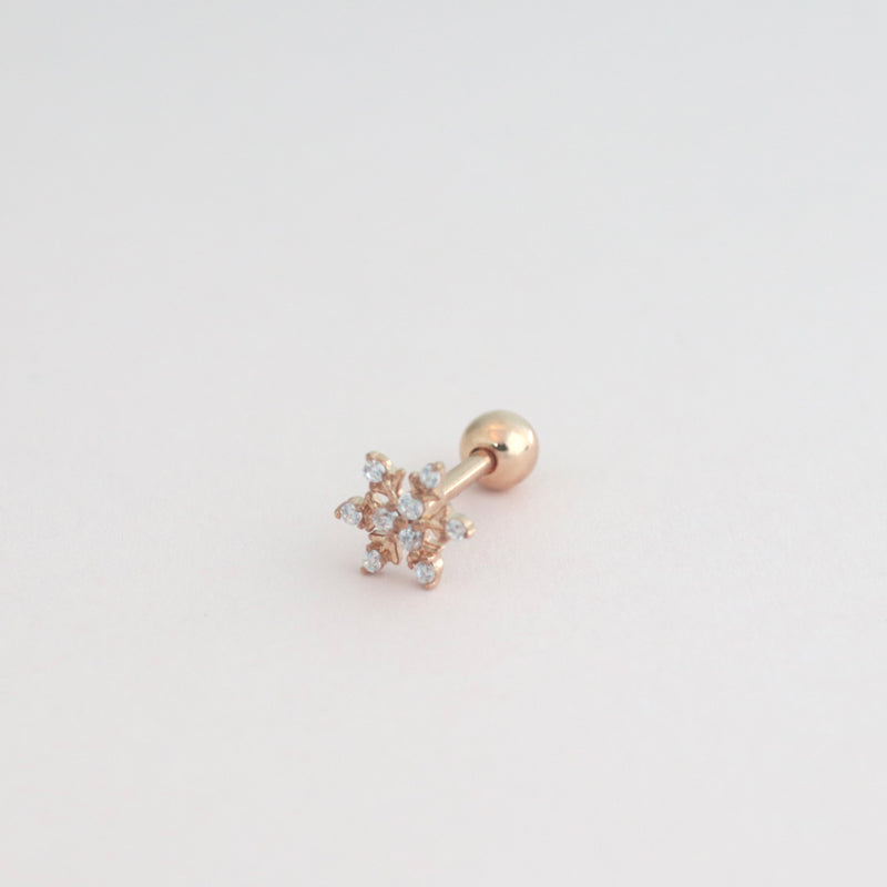 CZ Snowflake Cartilage Piercing- Sterling Silver