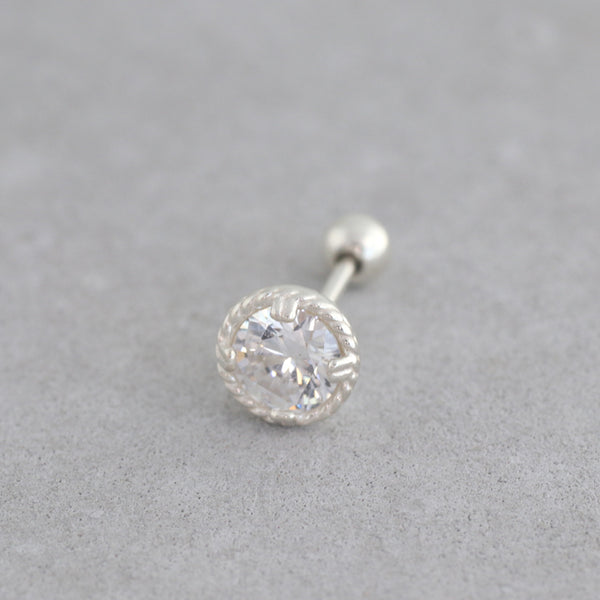 Solitaire Crystal Stud- Sterling Silver