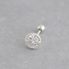 Twist Solitaire Stud- Sterling Silver
