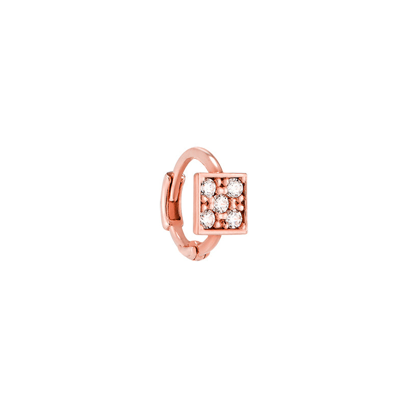 Tiny Pave Square Huggie Hoop- 14K Gold