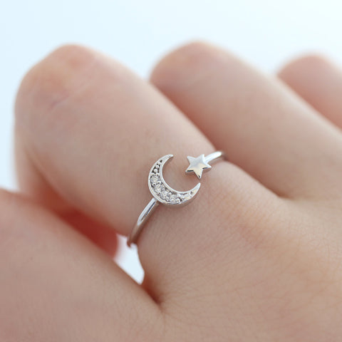 Sterling Silver Crescent Star Open Ring