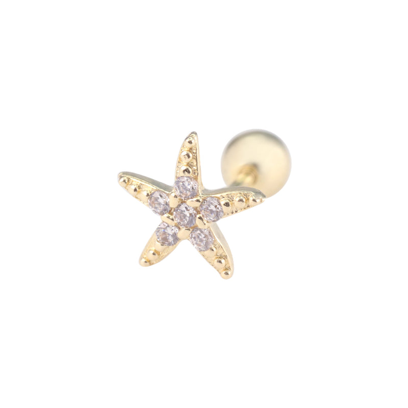 Starfish Cartilage Stud Earring in 14K Gold