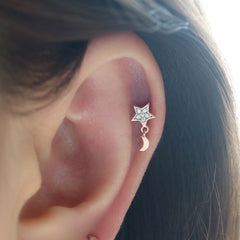 Star Moon Cartilage Piercing- Sterling Silver & 14K Gold