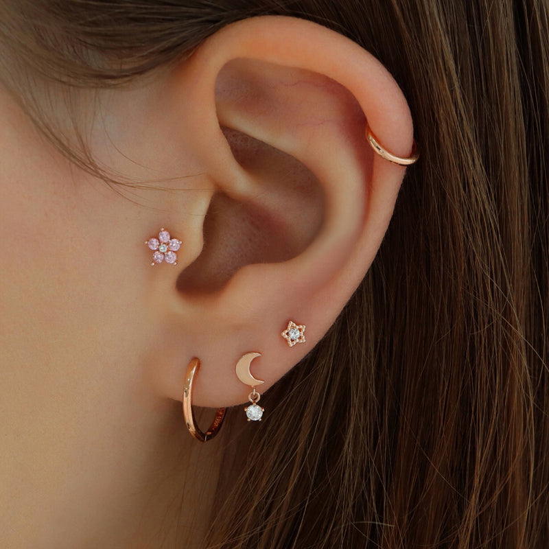 Moon Dangle Ear Piercing- 14K Gold