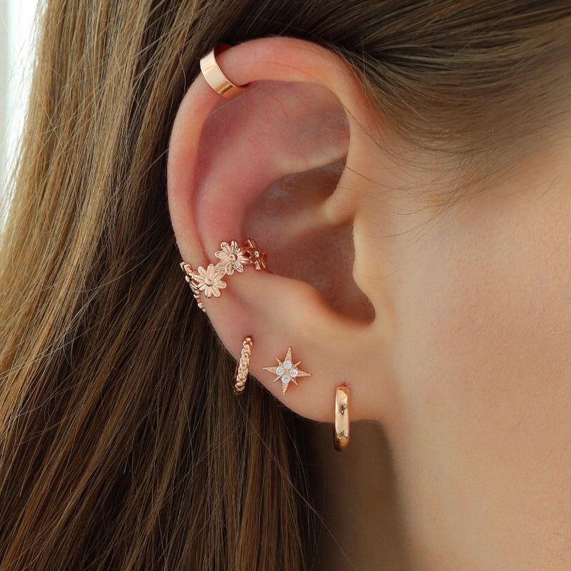 Starburst Cartilage Piercing- Sterling Silver