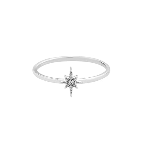 north star sterling silver ring