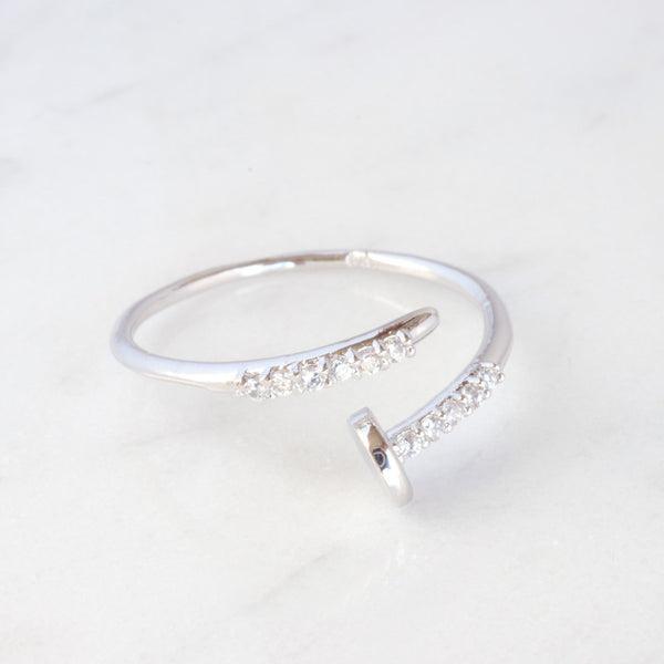 Sterling Silver CZ Screw Ring