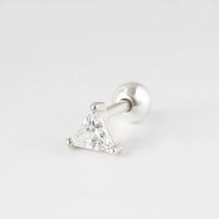 CZ Triangle Cartilage Piercing, Sterling Silver & 14K Gold