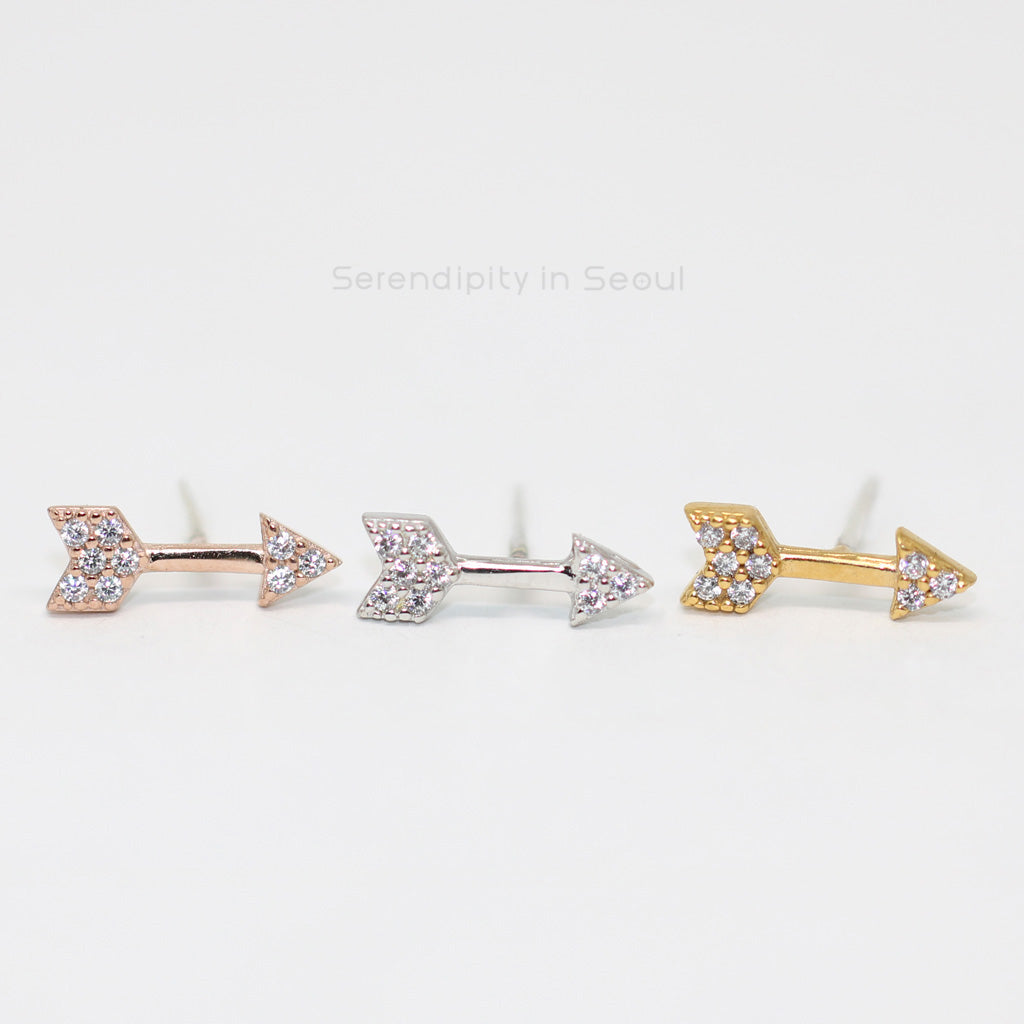 CZ arrow ear studs in silver, gold and rose gold