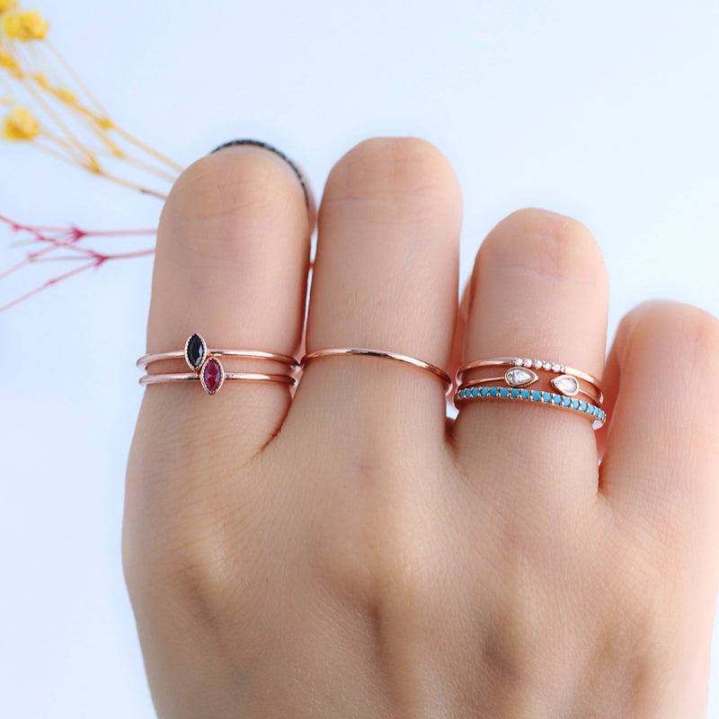 sterling silver dainty stacking rings