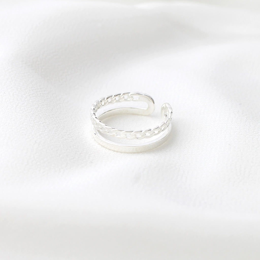 Sterling Silver Chain Double Band Ring