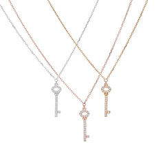 Key Pave Necklace- Sterling Silver