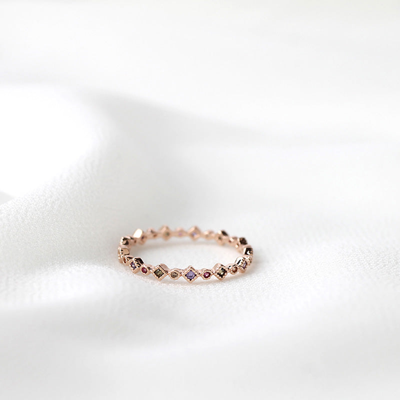 Mix CZ Eternity Ring- Sterling Silver