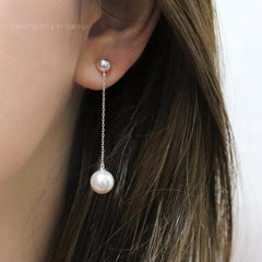 pearl chain drop earrings made from sterling silver