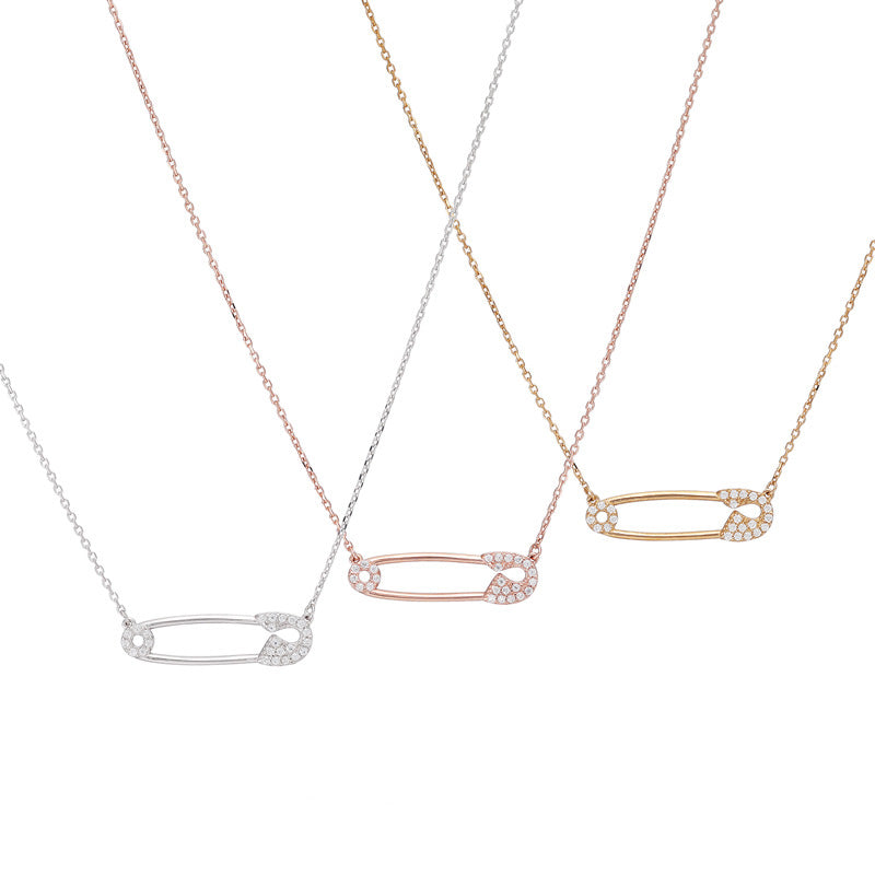safety pin necklaces in silver, gold and rose gold