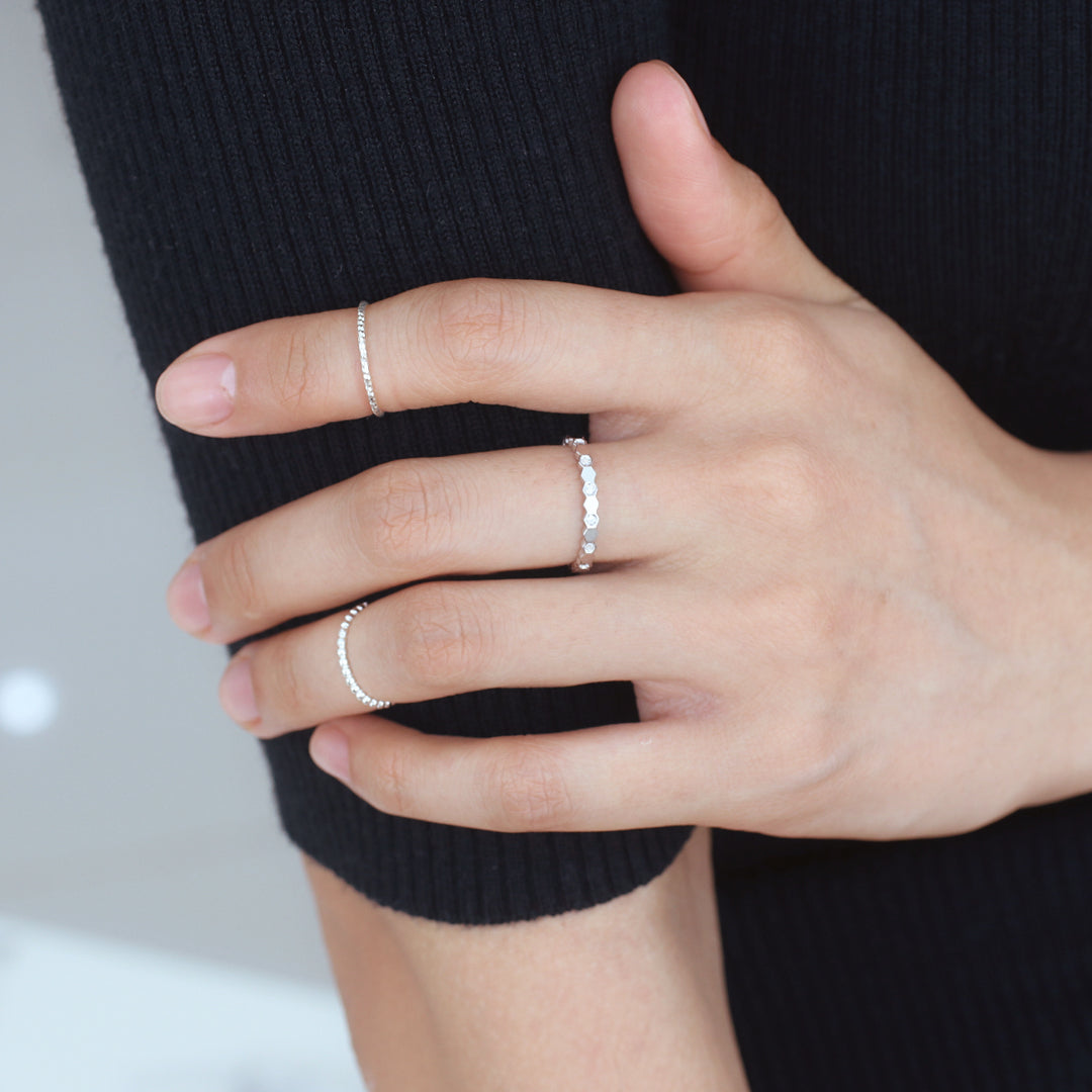 Hexagon Stacker Ring- Sterling Silver