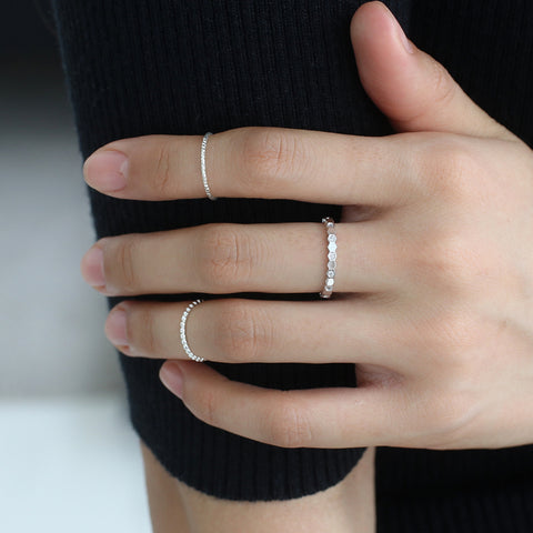 Dainty Thin Faceted Ring- Sterling Silver