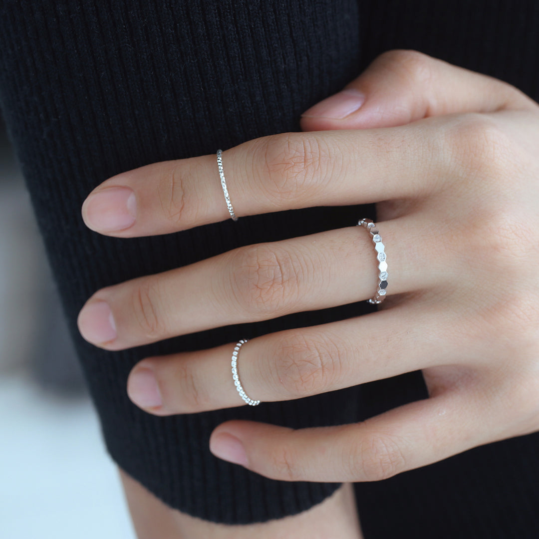 Thin Dots Ring- Sterling Silver