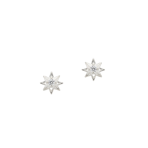 tiny starburst stud earrings in sterling silver