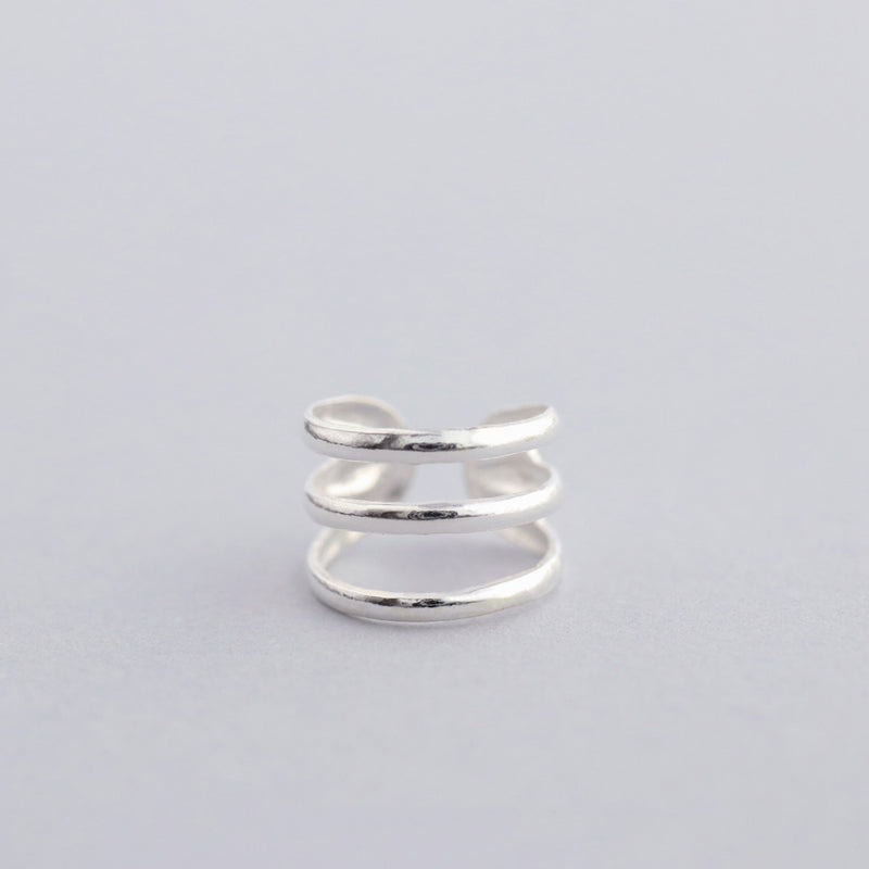 Triple Band Ear Cuff- Sterling Silver