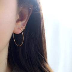 solid 14k gold thin endless hoop earring