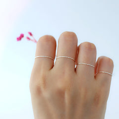 925 silver ultra slim stacking band rings
