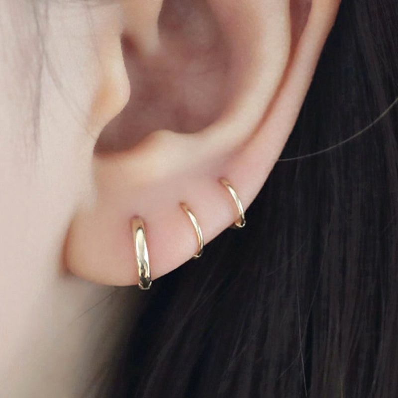 Small Thin Hoop Earring- 14K Gold