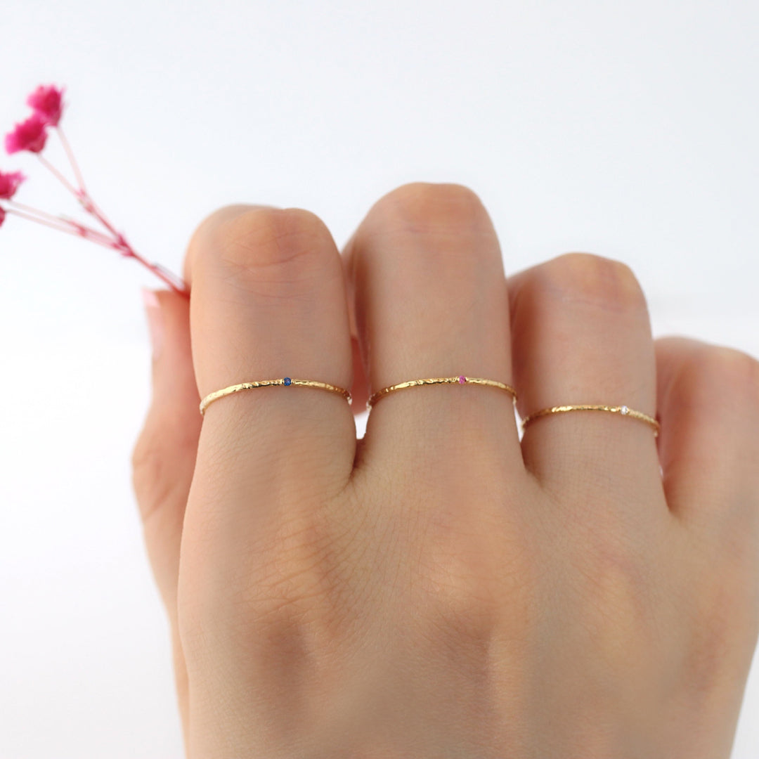 stacked slim hammered band rings