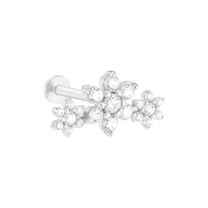 Three Flower Cartilage Labret Piercing- 14K Gold