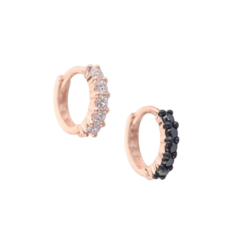 tiny white and black cz diamond huggie hoop earrings in 14k gold