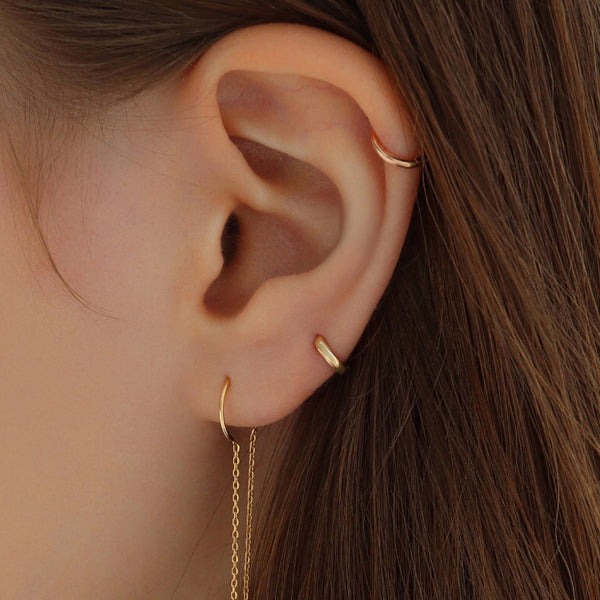 5mm Tiny Huggie Hoop- 14K Gold