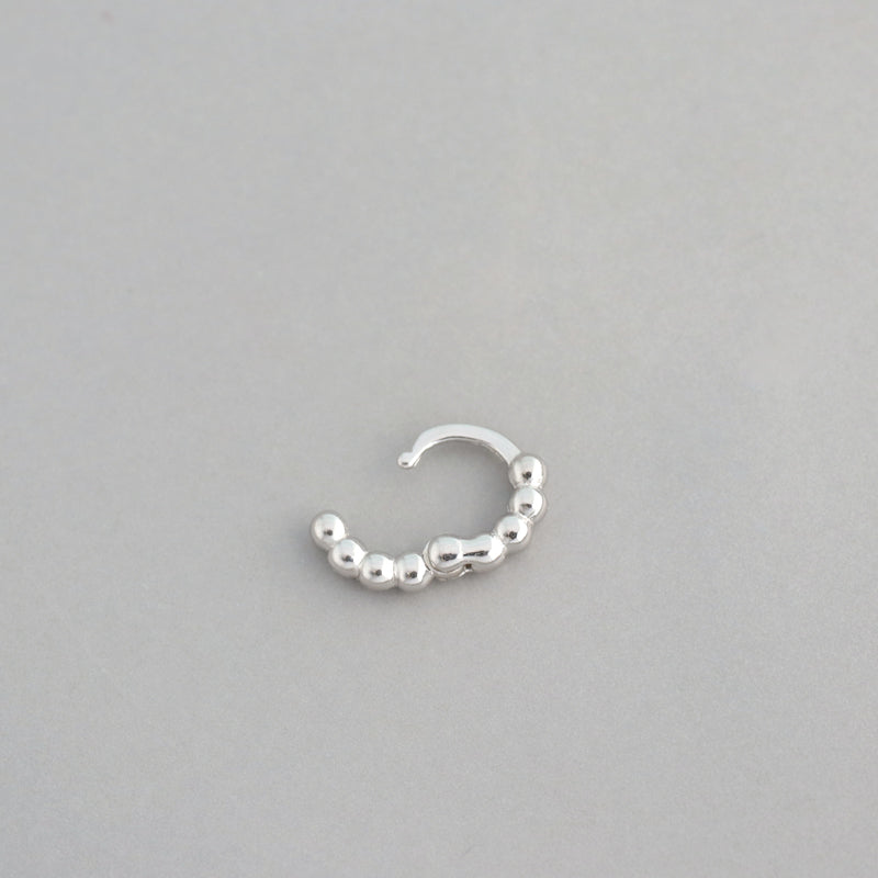 Tiny Beaded Huggie Hoop- Sterling Silver