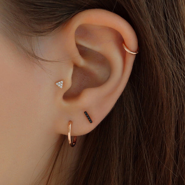 Black Pave Bar Ear Piercing- 14K Gold