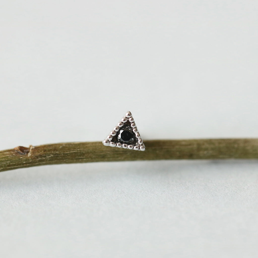 Black Tiny Triangle Stud Earring