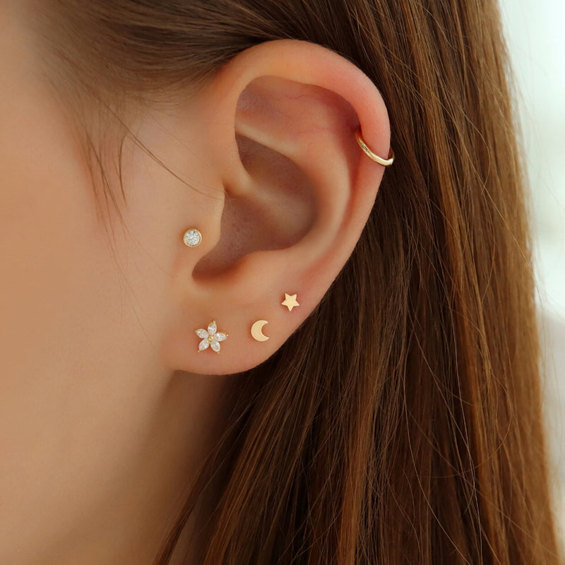 Small Marquise Flower Ear Piercing- 10K Gold