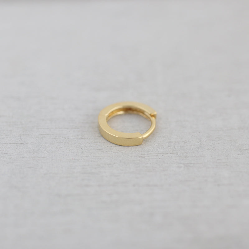 tiny flat huggie hoop earring in gold