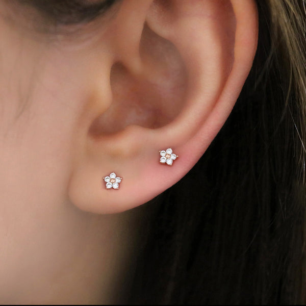 Tiny Flower Cartilage Piercing- Sterling Silver
