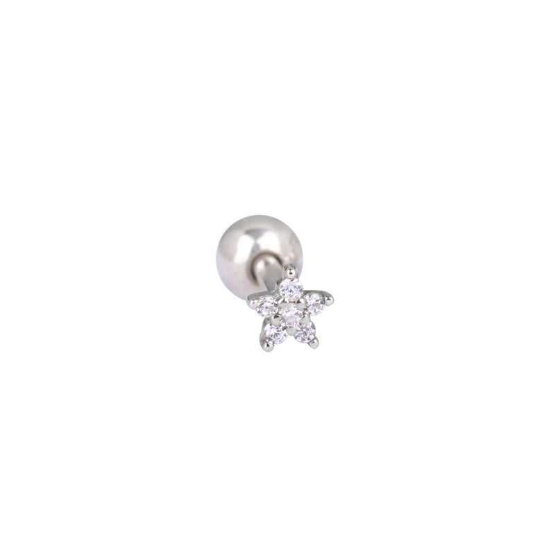 Micro Flower Cartilage Piercing- Sterling Silver