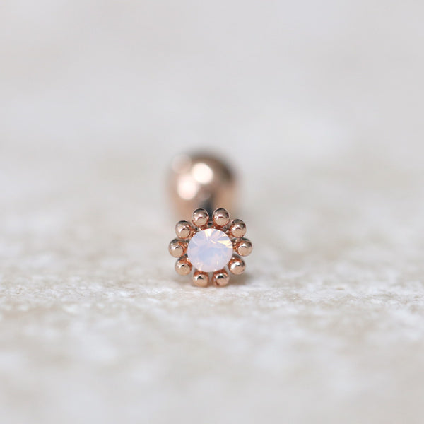 Tiny Rose Gold Flower Piercing