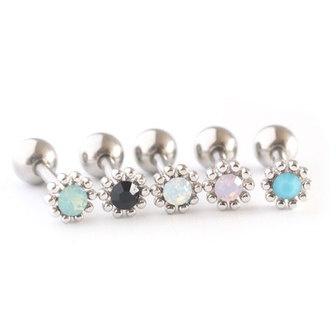 Tiny Flower Tragus Piercing Stud Silver