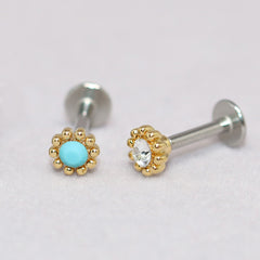 Tiny Flower Tragus Stud Earring Gold