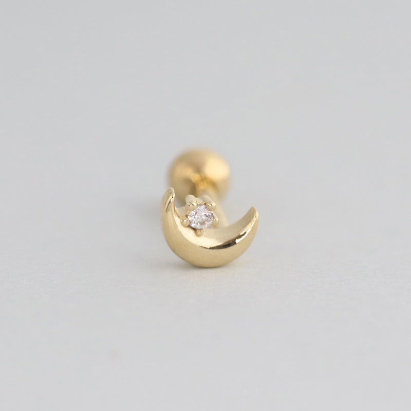 Mini Crescent Moon Piercing- 14K Gold