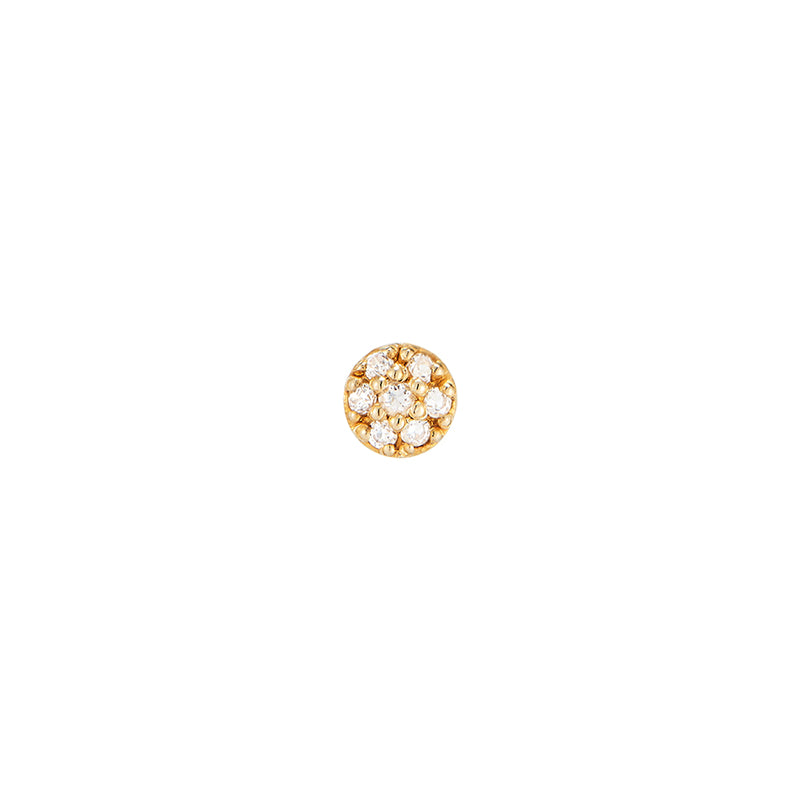 Tiny Pave Disc Stud- 14K Gold