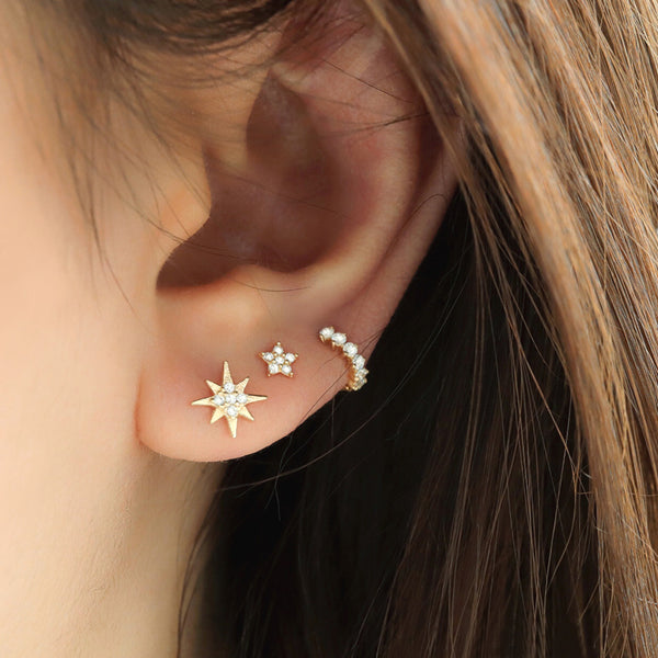 Tiny Pave Star Stud- 14K Gold